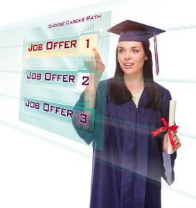 Attractive Young Mixed Race Female Graduate in Cap and Gown Choosing Job Offer 1 Button on Futuristic Translucent Panel.